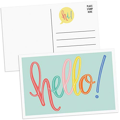Sweetzer & Orange Hello Postcards Pack (60 Post Cards) 4x6 Postcards for Kids and Adults. 300gsm Note Cards. Blank Hello Greeting Cards, Mint Green Hello Cards