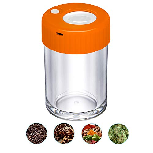 Light-Up LED Transparent Glass Air Tight Storage Jars Magnifying Viewing Jar for Food Spices Herb Weed & Cannabis Jar Storage 3.7Oz (Orange)