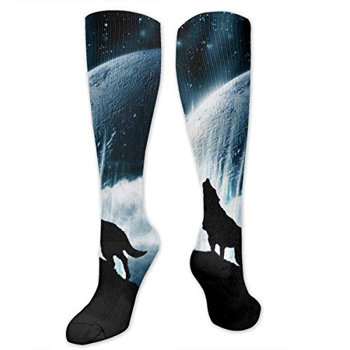 winterwang Wolf Howling at The Moon Calcetines de compresin para mujeres y hombres - Best, Travel & Flight Calcetines