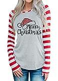 DUTUT Merry Christmas Baseball T-Shirt Womens Cute Santas Hat O-Neck Long Sleeve Striped Splicing Tops Tees Size M (Grey)