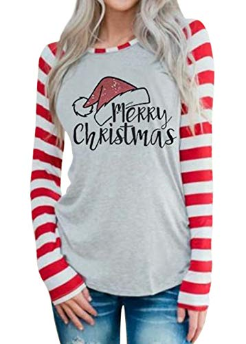 DUTUT Merry Christmas Baseball T-Shirt Womens Cute Santas Hat O-Neck Long Sleeve Striped Splicing Tops Tees Size M (Grey)