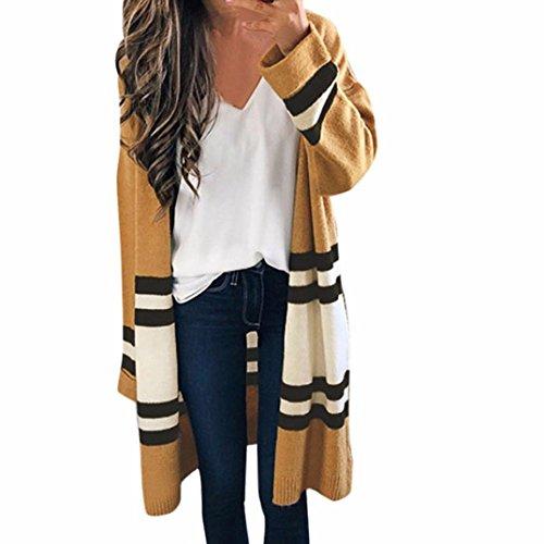 Todaies Women Cardigan Coat, Women Long Sleeve Loose Coat Oversized Sweater Coat Striped Tops (Khaki, Free Size)