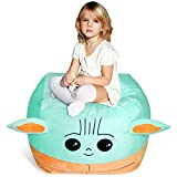 Stuffed Animal Toys Storage Kids Bean Bag Chair Cover Large Size 24 x 24 Inch Stuffable Zipper Bean Bag for Organizing Kids Plush Toys Blankets Towels Clothes Home Supplies(No Beans)