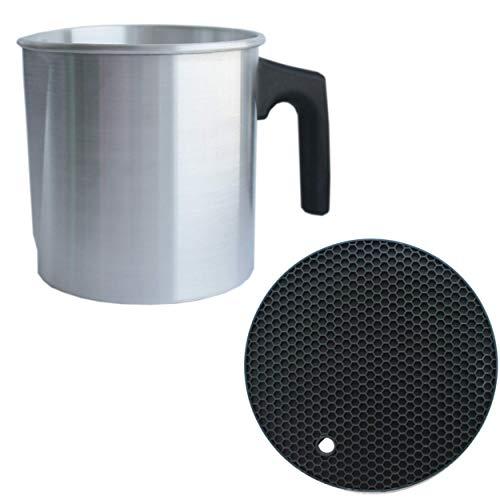 CozYours Candle Making Pouring Pot 2 lb & Trivet Mat (1/1 Pack), Double Boiler Wax Melting Pot, Wax Pouring Pitcher, Candle Making Pitcher