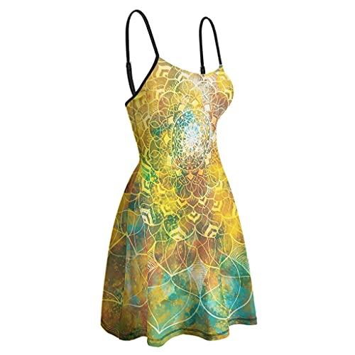 Vestido mágico de tirantes para mujer, estilo bohemio, con tirantes de espagueti, para fiesta