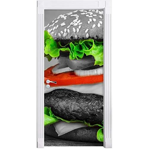 hmmsw 3D Adhesivos para Puertas Póster De Carne De Hamburguesa Hogar Retro Linda Cama Habitación De Niños Jardín De Infantes Dormitorio Decoración De Hotel Puerta Pegatinas De Pared-77X200Cm