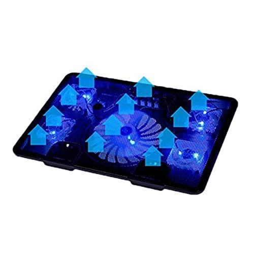 KJGHJ Soporte de refrigeración para portátil con almohadilla de enfriamiento para 5 ventiladores, 2 USB, para ordenador portátil, 10 a 17 pulgadas