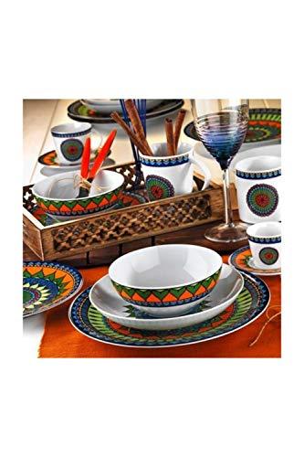 Juego de vajilla de 24 piezas, diseño étnico, para 6 personas, platos hondos, platos llanos, platos de postre y cuencos, servicio de comida vintage
