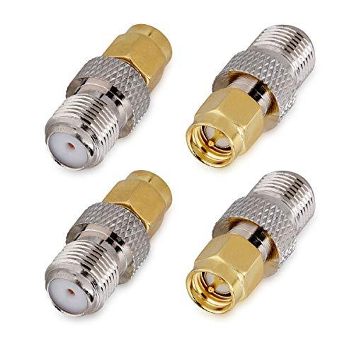 kwmobile Connettore F Femmina (no pin) a SMA Maschio (con pin) - Set 4x Adattatori da Presa F a Spina SMA - per Cavo Coassiale RF Antenna Radio