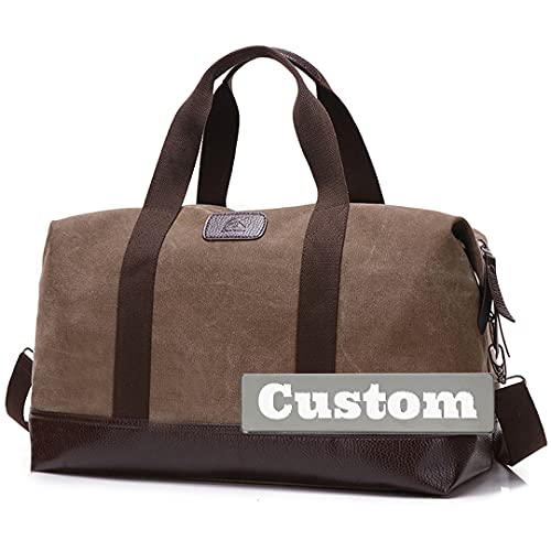 Nombre Personalizado Personalizado Carry On Size Duffle Nylon Duffel Bag Mujeres Grandes Impermeables (Color : Kafeise, Size : One Size)
