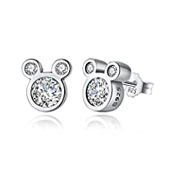 Material:925 Sterling silver and Clear Cubic Zirconia with 925 stamped inside Size:0.8*0.8cm Net Weight:2.6g A pair of dazzling mouse,these are a great gift to Female There is a lovely gift bag wrapped outside,you can buy it as a gift for special day...