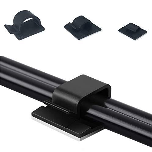 intervisio 100 Kabelklemme Mix Set, Selbstklebend Kabelklips, für Kabel von 5mm bis 16mm Bündeldurchmesser, Kabelschelle, Klebepads, Kabelhalter, schwarz, 100 Stück