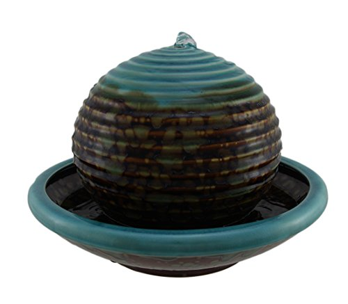 Zeckos Blue and Brown Ceramic Floating Ball in Bowl Tabletop Fountain