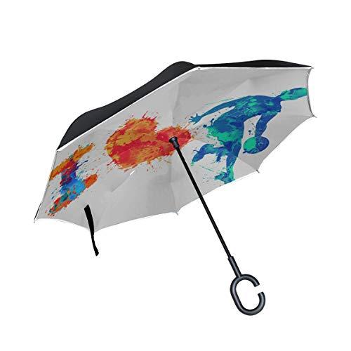 Double Layer Inverted Reverse Umbrella Travel Ich Liebe Sport Colourful Splash Reversible Umbrella Kinderwagen Reversible Umbrella Großer winddichter UV-Schutz für Regen mit C-förmigem Griff