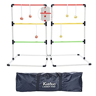 KH Yard Ladder Ball Toss Game for Adults and Family with 6 Bolos, Score Trackers and Waterproof Carry Bag