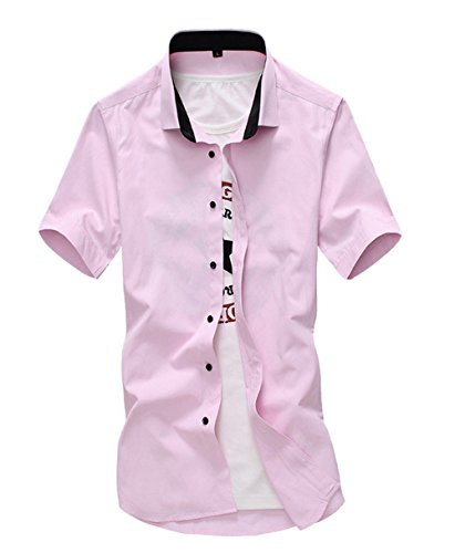 Broad & profound Homme Chemises Casual Shirt Tops Mode Men Tee shirt manches courtes Rose,XL