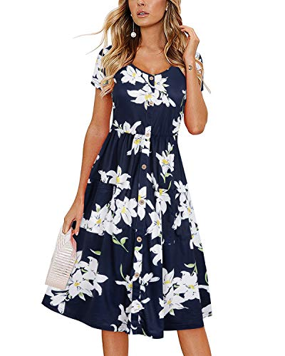 VOTEPRETTY Women's Short Sleeve V Neck Sundress Summer Casual Button Floral Dress with Pockets(Floral11,M)