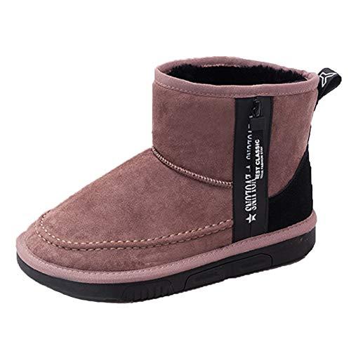Q-YR Botas De Nieve De Invierno Terceral De Cristal De Ovejas Gruesas Tubo Corto Cálido Zapatos De Algodón De Algodón Antideslizante Suela De Goma Suela De Mujer,B,37