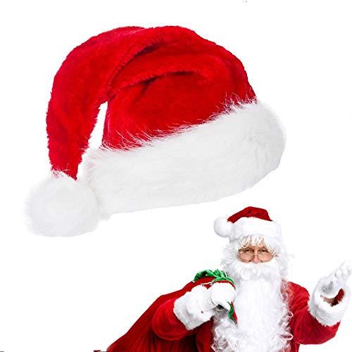 AFASOES Gorro de Navidad para Adulto Sombreros Rojo de Santa Claus Sombrero Papa Noel Gorro Navideño Gorros de Papa Noel Gorro de Santa Suave y Cómodo, Talla Única