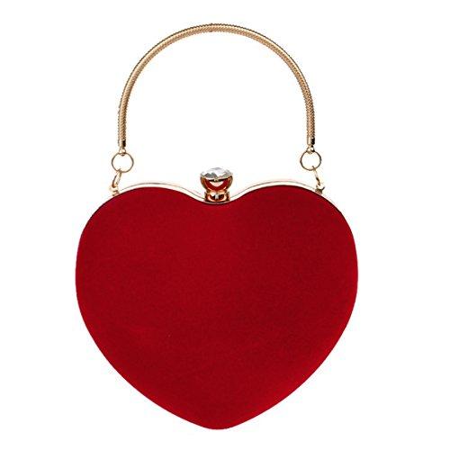 AiSi Damen Handtasche, Herzförmige Mini Tasche, Mädchen Umhängetasche, Neue Abendtasche, Kleine Samttasche (Rot)