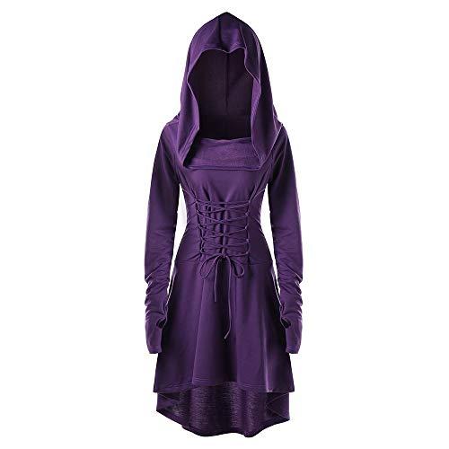 VEMOW Karneval Cosplay Party Ballkleid Damen Mode Langarm Mit Kapuze Mittelalterliches Kleid Bodenlangen Cosplay Kleid(X3-Violett, 34 DE/M CN)