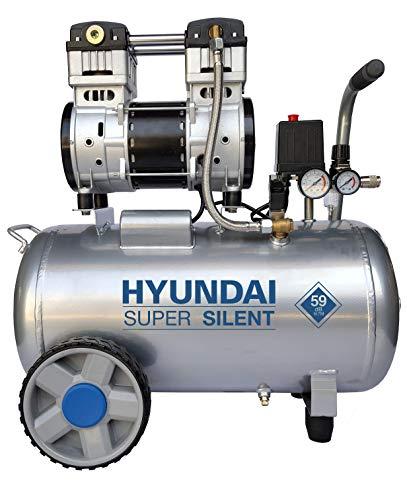 HYUNDAI Silent Kompressor SAC55753 (Druckluftkompressor, ÖLFREI, Flüsterkompressor mit 59 dB(A), 50 l Druckbehälter, 8 bar, 1.5 kW (2.0 PS), Öl-/Wasserabscheider, Ansaugleistung 232 L/Min)