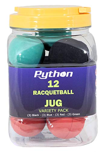 Python Variety Pack Racquetball(Jug) (12 Balls)(3-Black,3-Blue,3-Red, 3-Green)