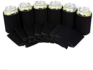 Beer Drink Blank Can Coolers - Blank Beer,Soda Coolies Sleeves | Soft,Insulated Coolers | 30 Colors | Perfect For DIY Projects,Holidays,Events (12, Black)