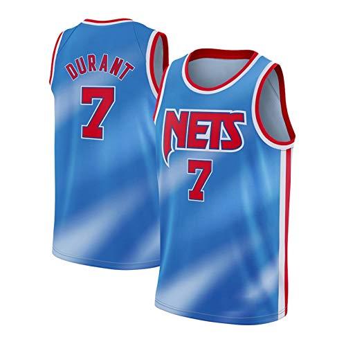 Durant Men's Jerseys Nets, KD # 27 2021 New Temporada Baloncesto Uniforme Camiseta Bordado Sports Chaqueta Chaleco Vestido Fan Transpirable Sudadera (S-XXL) Blue-XXL