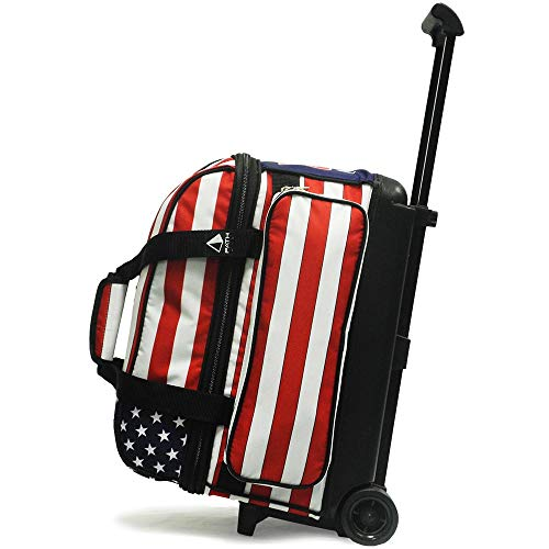 Pyramid Path Deluxe Double Roller with Oversized Accessory Pocket Bowling Bag (USA Flag)