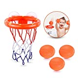 Areedy Kids Bath Toy Basketball Hoop & Balls Playset for Boys Girls Bathtub Shooting Basket Game Toddlers Gift Set Suctions Cups That Stick to Smooth Place