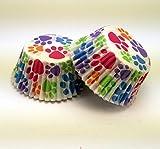 PartiFun Paw Print Cupcake Premium Paper Cupcake Liners (32 count), No Muffin Pan Needed