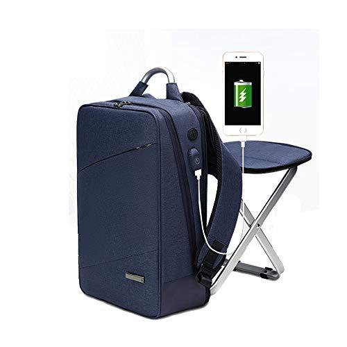 HYRL Business Sac à Dos Double Sac à bandoulière Chaise intégrée, Mode Tendance Sac Grande capacité 15,6 Loisirs Ordinateur Sac,Blue