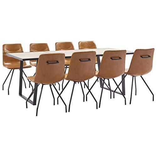 vidaXL Essgruppe 9-TLG. Esszimmergarnitur Esstischset Tischset Sitzgruppe Küchentisch Esszimmertisch Esszimmergruppe 8 Stühle Kunstleder Cognac