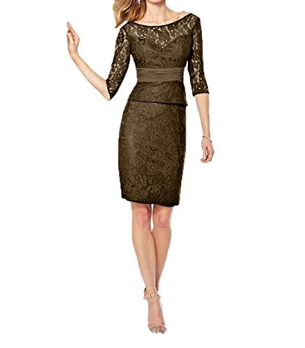 Royaldress Damen Elegant schwarz Spitzenkleider Langarm Brautmutterkleider Abendkleider Festkleider Damen Knielang coktail kurz -50 Braun