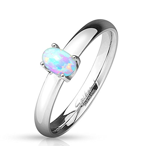 beyoutifulthings glänzender Opal Band-Ring Chirurgenstahl 316L Verlobungs-Ring Partner-Ring Edelstahl Trau-Ring 47(15)-60(19)