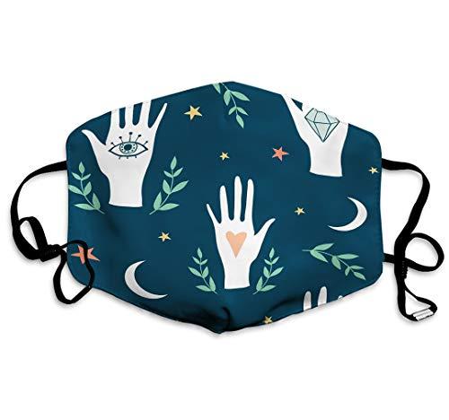 Staubgesicht Anti Pollution Shield Hexe magische Augen Hände Mond Sterne Handlesen Hand gezeichnete Doodle Skizze Textur Hexe Magie Fashion Shield