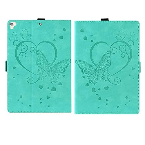 ONETHEFULCarcasaLibroFundaTabletApple iPad 9.7' 2017 2018 / iPad Air 2013 / iPad Air 2 2014CoverMariposas en Relieve Fundascon Protectora PU CueroySoporte- Menta Verde