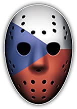 novland Czech Republic Flag Ice Hockey Goalie Mask Car Bumper Sticker Decal 3'' x 5''
