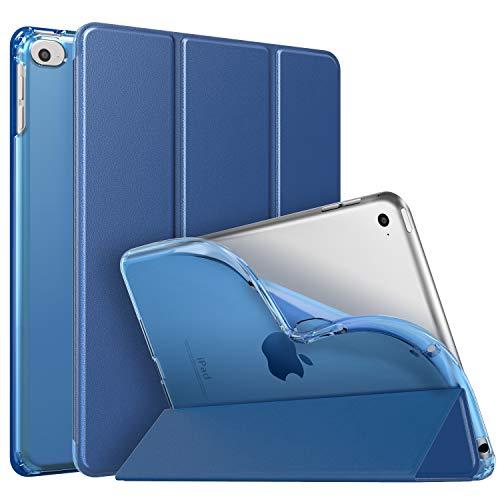 MoKo Funda Compatible con New iPad Mini 5th Generation 7.9' 2019/iPad Mini 4 2015, Ultra Delgado Función de Soporte Protectora Plegable Cubierta Inteligente Trasera Transparente Funda - Índigo