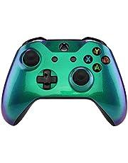 eXtremeRate Carcasa para Xbox One S X Funda Delantera Protectora de la Placa Frontal Cubierta de reemplazo para Mando del Xbox One S y Xbox One X (Model 1708) Camaleónica de Verde a Violeta