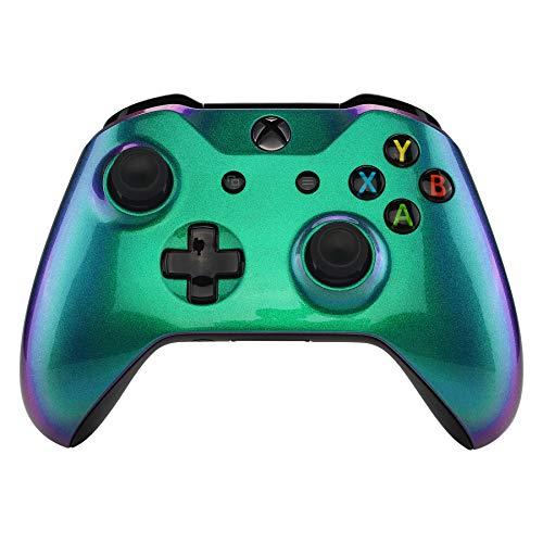 eXtremeRate Cover Custodia Anteriore Copertura Frontale Guscio DIY Joystick Pezzo di Ricambio per Xbox One S X Controller Model 1708(Camaleonte Verde Viola)