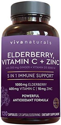 Viva Naturals Elderberry Vitamin C Zinc Vitamin D 5000 IU Ginger Antioxidant Immune Support product image