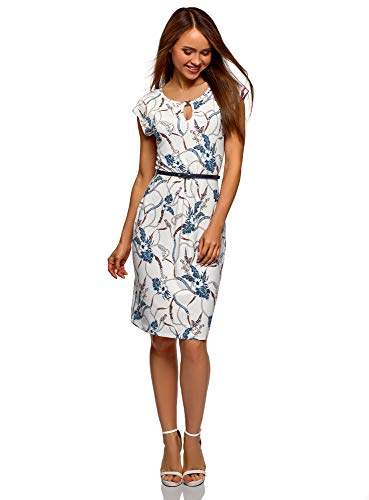 oodji Collection Damen Bedrucktes Kleid mit Gürtel, Weiß, DE 44 / EU 46 / XXL