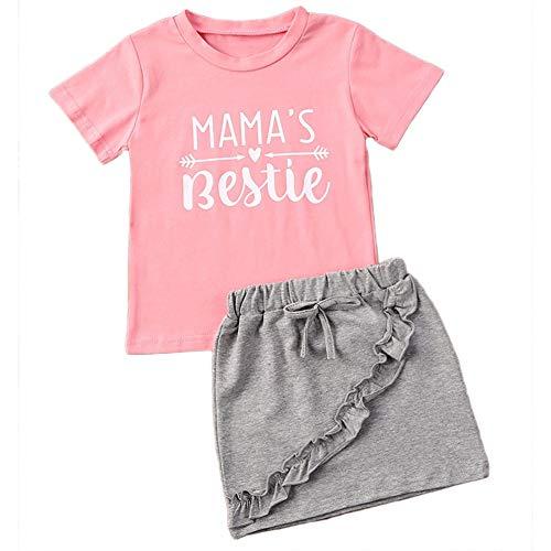 Kleikinder - Conjunto de ropa para niña con camiseta y falda en A, manga corta Mama's Bestie Pink 4-5 Años