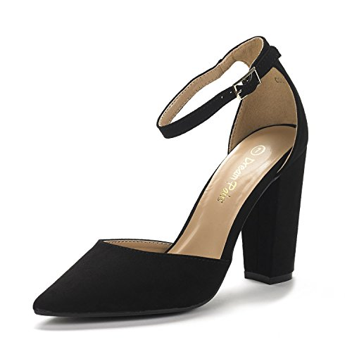 DREAM PAIRS Women's Coco Black Suede Mid Heel Pump Shoes - 7 M US