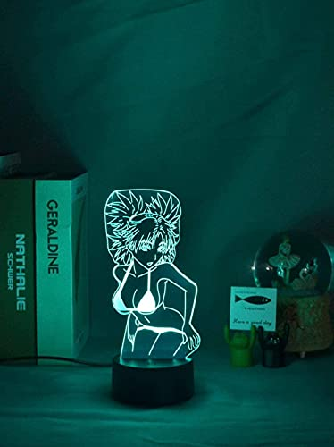 GEZHF Luz nocturna 3D ilusión japonesa anime decoración LED anime sexy bikini niña tentación figura LED 16 colores cambiantes para dormitorio decoración control aplicación novedad anime luz