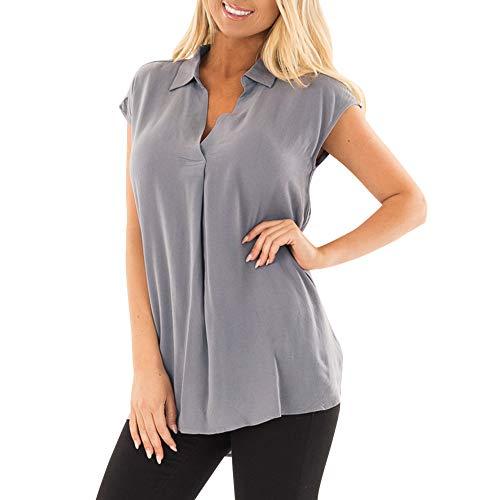 Linkay T Shirt Damen Kurz ÄrmellosV-Ausschnitt Bluse Tops Plissiert Gekräuselt Oberteile Mode 2019 (Grau, Large)