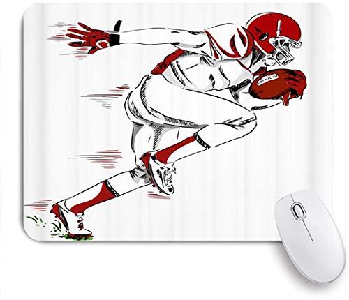 NANITHG Stoff Mousepad,Männlicher Athlet des amerikanischen Fußball Sportthemas mit Helm und Handschuhen, die einen Fußball Laufskizzenstil halten,Rutschfest eeignet für Büro und Gaming Maus