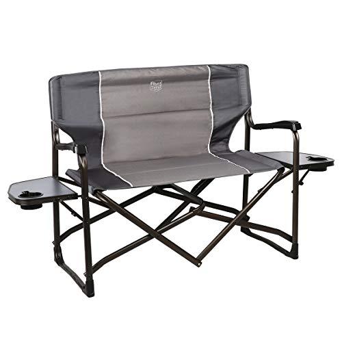 "Timber Ridge Cedar 2 Person Love Seat Folding Director's Chair, Grey, 38""W x 16.5""D x 35.5""H"